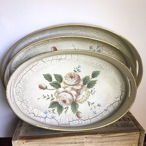 Wooden nesting trays shabby chic white floral
